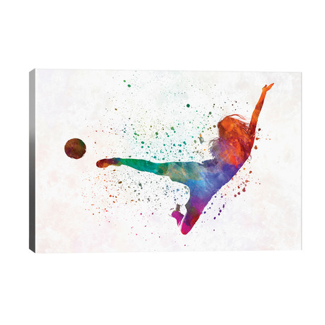 "Woman Soccer Player 02 In Watercolor // Paul Rommer (40""W x 26""H x 1.5""D)"