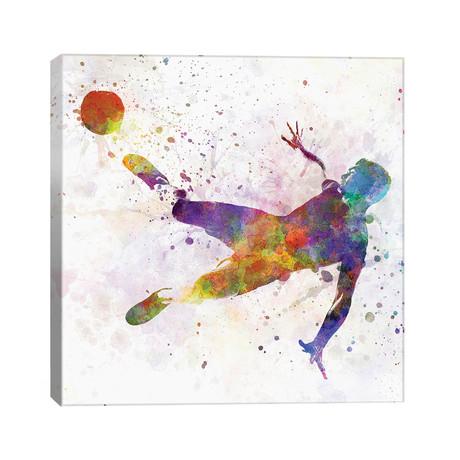 """Man Soccer Football Player Flying Kicking V // Paul Rommer (26""""W x 26""""H x 1.5""""D)"""