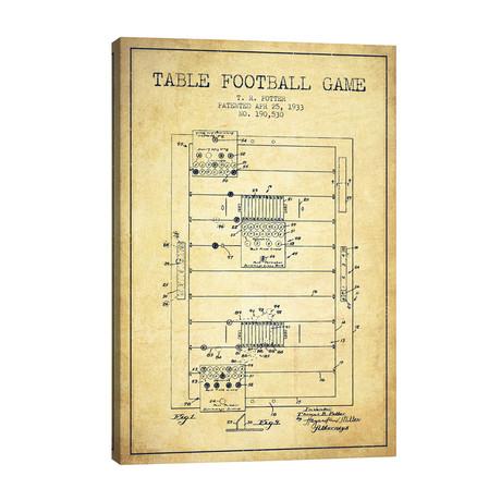 "Table Football Vintage Patent Blueprint // Aged Pixel (26""W x 40""H x 1.5""D)"