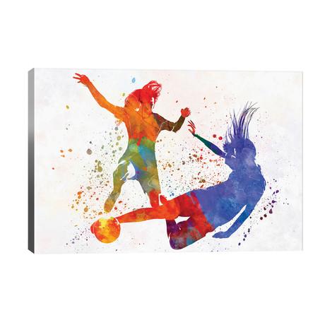 """Women Soccer Players In Watercolor II // Paul Rommer (40""""W x 26""""H x 1.5""""D)"""