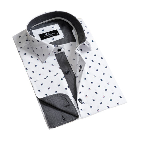 Reversible Cuff French Cuff Dress Shirt // White + Gray (S)