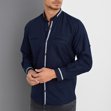 Al Button-Up Shirt // Dark Blue (Small)