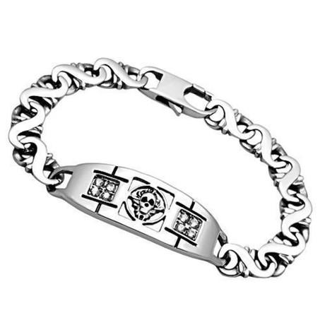 Gents // Skull + Cz Design Style Bracelet