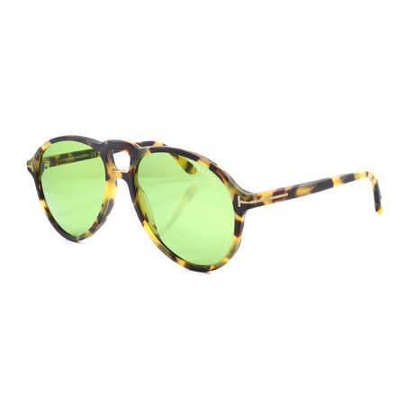 Men's FT0645S Sunglasses // Matte Light Tortoise + Green