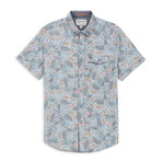 Stretch Floral Print Sport Shirt // Blue (XL)