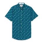 Flamingo Print Sport Shirt // Navy (S)