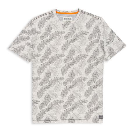 Floral Print Crewneck T Shirt // Gray (S)