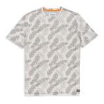 Floral Print Crewneck T Shirt // Gray (M)