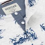 Beach Print Crewneck T Shirt // Blue (L)
