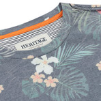 Floral Print Crew Neck T Shirt // Navy (S)