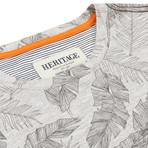 Floral Print Crewneck T Shirt // Gray (L)