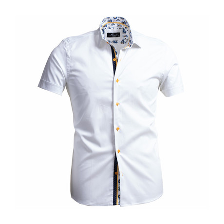 Solid Short Sleeve Button Down Shirt // White (S)