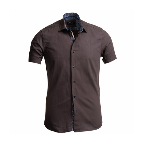 Solid Short Sleeve Button Down Shirt // Brown (S)