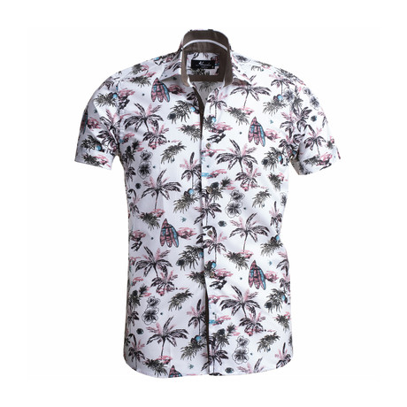 Palm Tree + Surf Boards Short Sleeve Button Down Shirt // Blue (S)