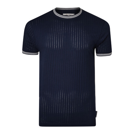 Ribbed Crew Neck T-Shirt // Navy (S)