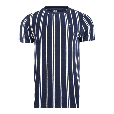 Textured Stripe T-Shirt // Navy (S)