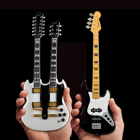 RUSH // Alex Lifeson & Geddy Lee Miniature Guitar Models // Set of 2
