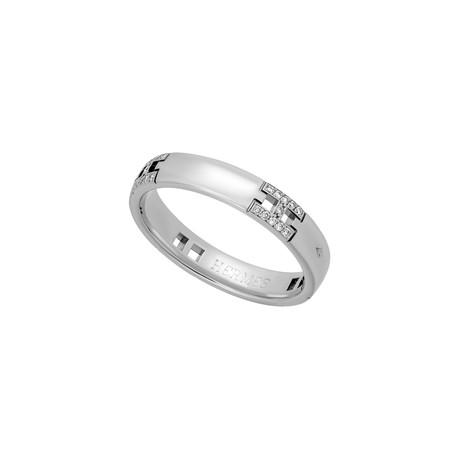 Hermes 18k White Gold Diamond Hercules Ring // Ring Size: 6 // Pre-Owned