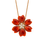 Van Cleef & Arpels 18k Rose Gold Diamond Carnelian Necklace // Pre-Owned