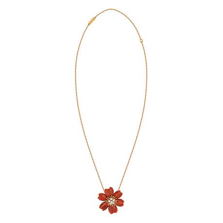 Van Cleef & Arpels 18k Rose Gold Diamond Carnelian Necklace // Pre-Owned