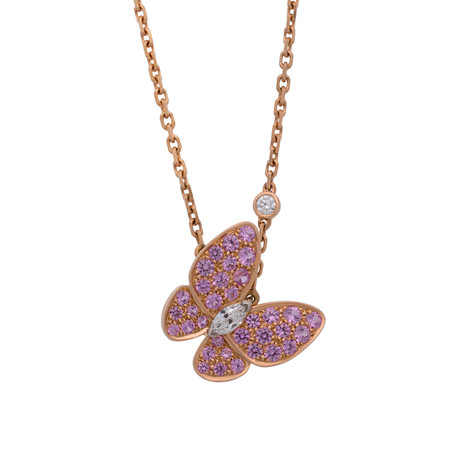 Van Cleef & Arpels 18k Rose Gold Diamond + Sapphire Two Butterfly Necklace // Pre-Owned