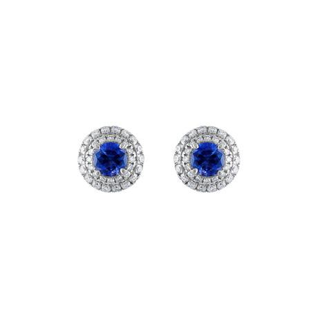 18K White Gold Diamond + Blue Sapphire Earrings