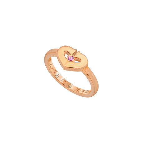 Cartier 18k Rose Gold Sapphire C Heart Ring // Ring Size: 4.75 // Pre-Owned