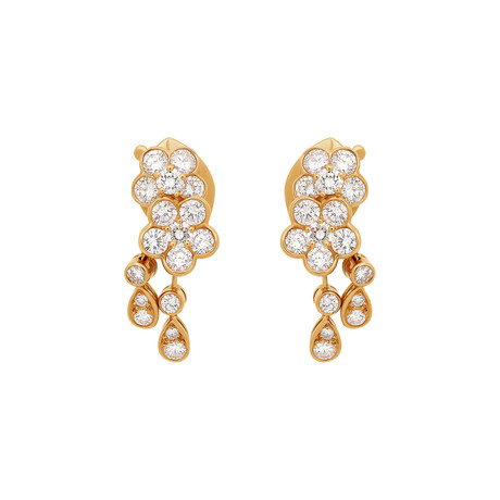 Mikimoto 18k Yellow Gold Diamond Earrings // Pre-Owned