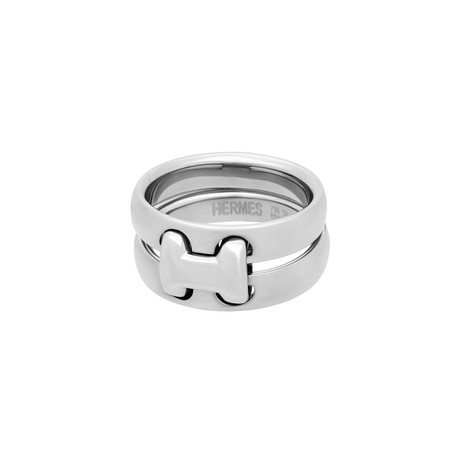Hermes 18k White Gold H Double Ring // Ring Size: 5.25 // Pre-Owned