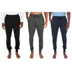 3 Pack Lightweight Cuffed Joggers // Black + Gray + Blue (S)