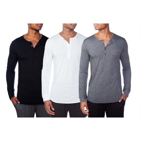 3 Pack Super Soft Henley // Black + White + Gray (S)