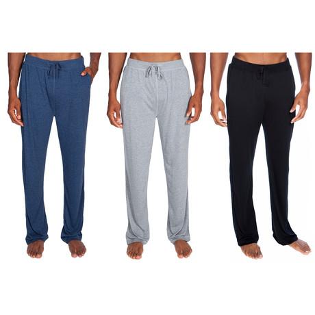 3 Pack Super Soft Lounge Pant // Blue + Gray + Black (S)