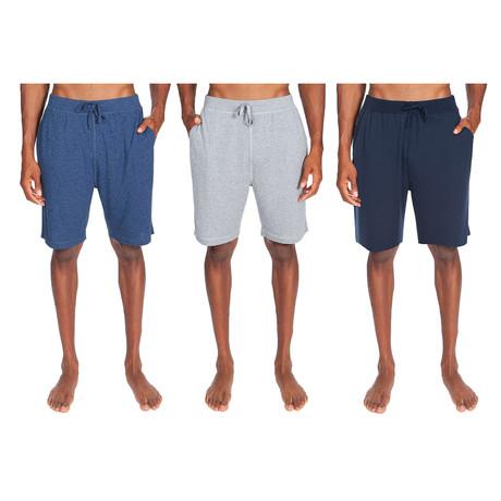 3 Pack Super Soft Lounge Short // Light Blue Heather + Gray + Dark Blue (S)