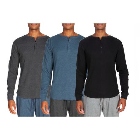 3 Pack Long-Sleeve Waffle Henley // Gray + Light Blue + Black (S)