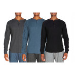 3 Pack Long Sleeve Waffle Henley // Gray + Light Blue + Black (S)
