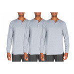 3 Pack Super Soft Henley // Light Gray Heather (S)