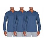 3 Pack Super Soft Henley // Medium Blue Heather (S)