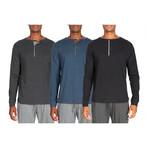 3 Pack Lightweight Henley // Gray + Blue + Black (M)