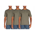 3 Pack Lightweight Short-Sleeve Henley // Forest Green (XL)