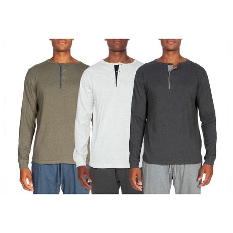 3 Pack Lightweight Henley // Green + White + Gray (S)