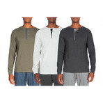 3 Pack Lightweight Henley // Green + White + Gray (M)
