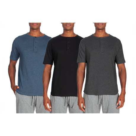 3 Pack Lightweight Short-Sleeve Henley // Blue + Black + Gray (S)