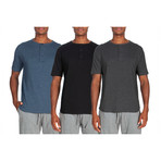 3 Pack Lightweight Short-Sleeve Henley // Blue + Black + Gray (S)