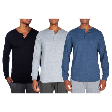3 Pack Super Soft Henley // Black + Gray + Blue (S)