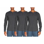 3 Pack Long-Sleeve Waffle Henley // Dark Gray (S)