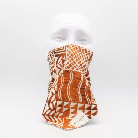 Hawaiian Barkclothh Maskdanna // Off White + Brown (S)