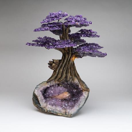The Protection Tree // Genuine Amethyst Tree + Amethyst & Calcite Crystal Matrix // Custom v.1 // XL