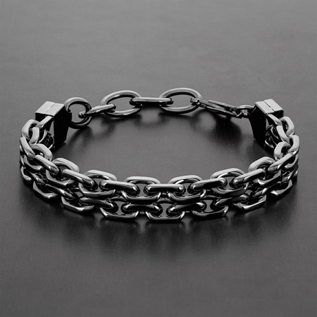 Double Strand Anchor Chain Bracelet // Set of 2 (Silver)