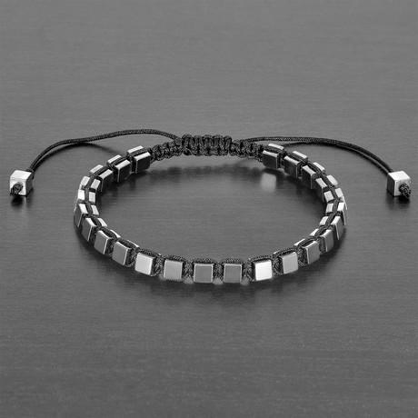 Hematite Cube Adjustable Bracelet // Set of 2 (Gold)
