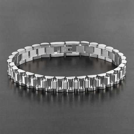Dual Finish Link Bracelet // Silver // Set of 2